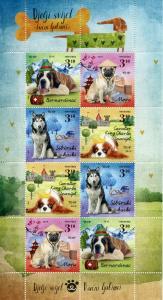 Croatia 2019 MNH Dogs II Huskies Pugs St Bernard 8v M/S Pets Animals Stamps