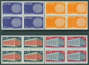 FRENCH ANDORRA : 1969-70. Scott #188-89, 196-97 Europa. Blks of 4 VFMNH Cat $154