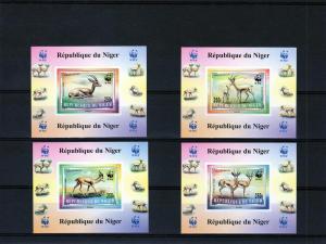 Niger 1998 WWF Dorcas Gazelle 4 Deluxe S/S Imp.Sc#983/6 MNH