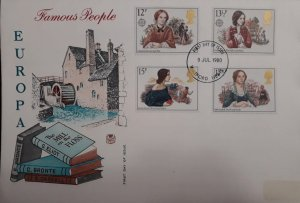 U) 1980, ENGLAND, FAMOUS PEOPLE FROM EUROPE, G ELIOT, G BRONTE, E GASKELL, FDC