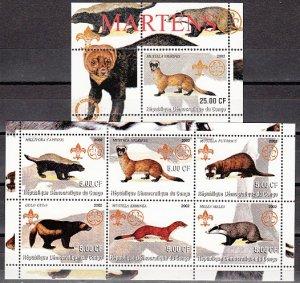 Congo Dem., 2002 issue. Martens sheet of 6 & s/sheet. ^
