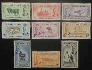 Falkland Islands 107-15. 1952 1/2p - 1/- KGVI Pictorials