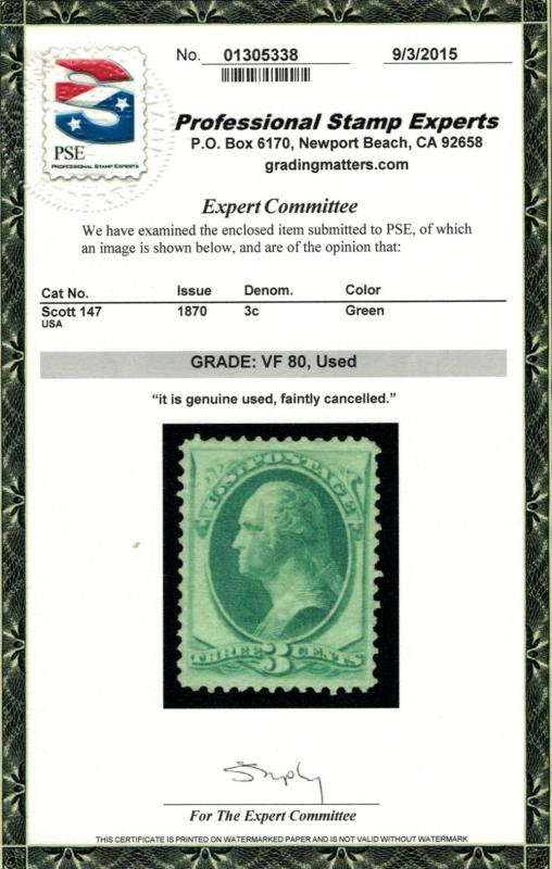 US # 147 GRADED 80  w/PSE GRADED CERT, a fabulous stamp with wonderful center...