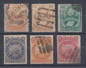 Bolivia Sc 21/27 used 1878-1887 issues, 6 different F-VF