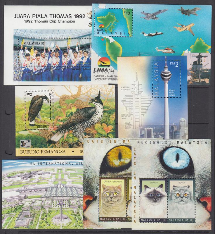 Malaysia Sc 459//786 MNH. 1992-2000 Souvenir Sheets, 12 different, VF