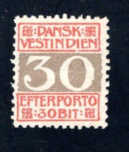 Danish West Indies #J7,  F/VF,  Mint Unused, No Gum, CV $6.75 ....1630055