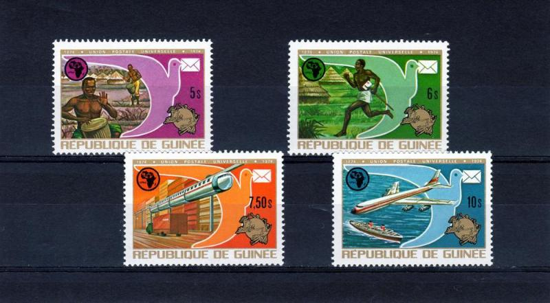Guinea 1974 Train/Aircraft/Ship/UPU Set (4) Perf.Sc#672/675