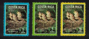 Costa Rica Song Thrushes Birds and their Chicks 3v SG#1332-1334