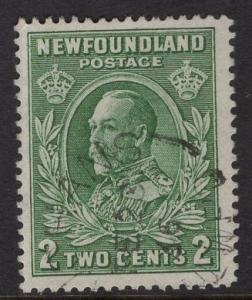 Newfoundland  #186  used  1932   2c KIng George V  green