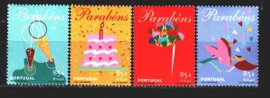 Portugal. 2001. 2504-7. Greeting stamps, heart, cake. MNH.