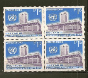 Chile 419 UN Conference Hall Block of 4 MNH