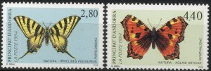 French Andorra 1994 #443-4 MNH. Butterflies