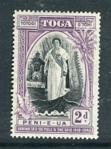 TONGA; 1944 early Queen Salote Silver Jubilee issue Mint hinged 2d. value