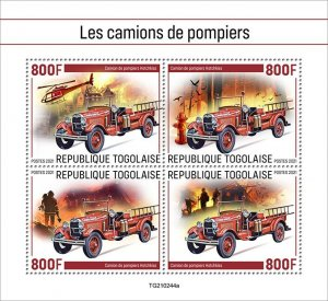 TOGO - 2021 - Fire Engines - Perf 4v Sheet - Mint Never Hinged