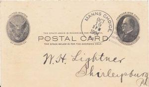 United States Pennsylvania Manns Choice 1904 doane 2/4  Postal Card.