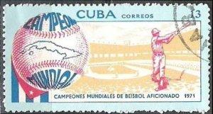 CUBA  Sc# 1667  WORLD BASEBALL CHAMPIONSHIP sport base ball  1971  used / cto