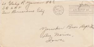 United States Military Soldier's Free Mail 1943 San Bernardino, Calif. Air De...