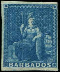 Barbados SC# 2a SG# 3 Britannia (1d) blue Imperf MH orig gum