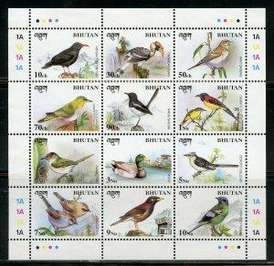 BHUTAN BIRDS SHEET  MINT NEVER HINGED