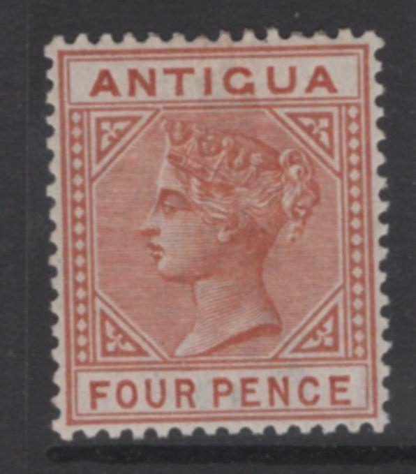 ANTIGUA SG28a 1887 4d CHESTNUT TOP LEFT TRIANGLE DETACHED MTD MINT