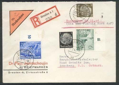 GERMANY 1940 Registered cover Dresden to Annaberg - Nachnahme label........87011