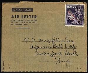 MALTA 1953 GV 3d on formular airletter used to UK......................30303