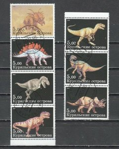 Kuril Is., 2000 Russian Local. Dinosaurs on 7 values. C.T.O. *