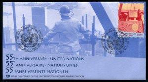 358-360 UN - Geneva 55th Anniversary OFDC