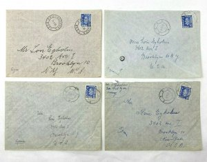 Feda + Kristiansund Norway > Brooklyn NY 4 1950s airmail covers
