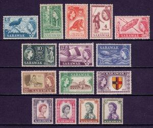 SARAWAK — SCOTT 197-211 (SG 188-202) — 1955-57 QEII SET — MNH — SCV $101