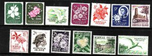 Norfolk Is.-Sc#29-41-unused-hinge remnant set-Birds-Flowers-1960-2-QEII-