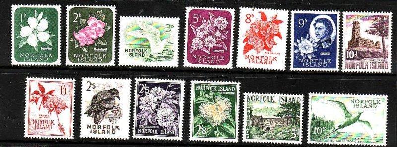 Norfolk Is.-Sc#29-41-unused-hinge remnant set-Birds-Flowers-1960-2-QEII-