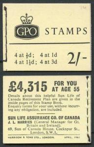 N4p 2/- Booklet April 1961 Phosphor Misplaced on 3d