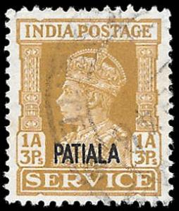 INDIA PATIALA  SC# O68  -  USED - NICE ALBUM SPACE FILLER