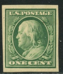 US Sc#343 1908 1c Franklin Imperforate DL Wmk VF OG Mint NH