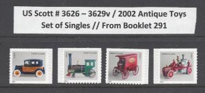 US Scott # 3626 - 29 / 3629v  Antique Toys, SA St of Singles from BK 291