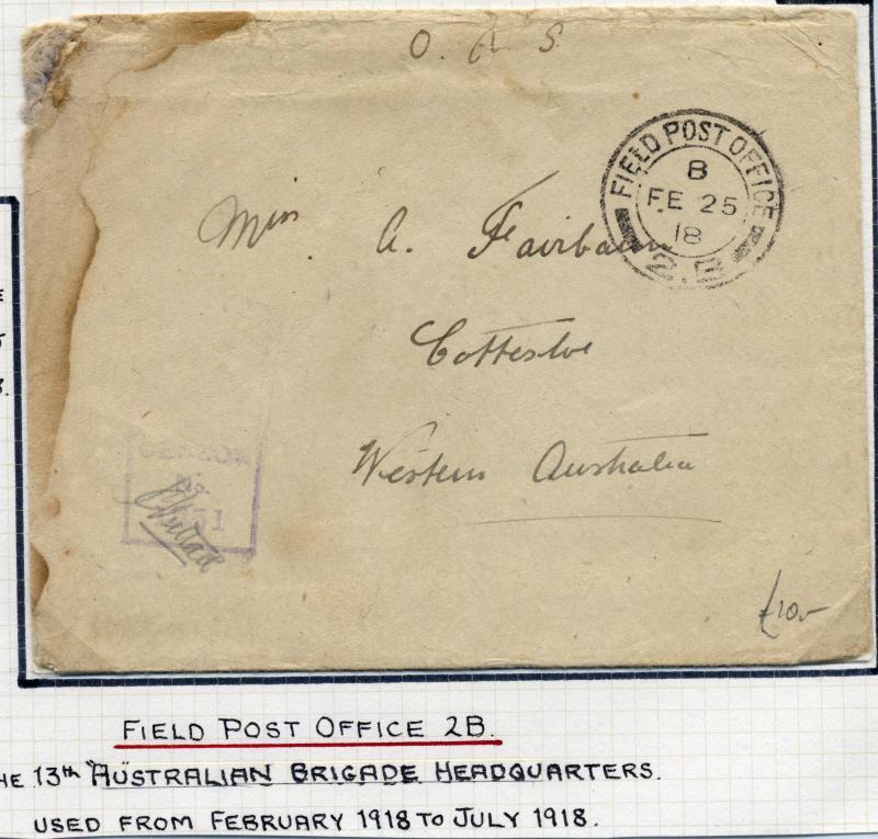 Australia - Field Post 2B - 25-Feb-1918. The 13th Brigade, cover to Western A...