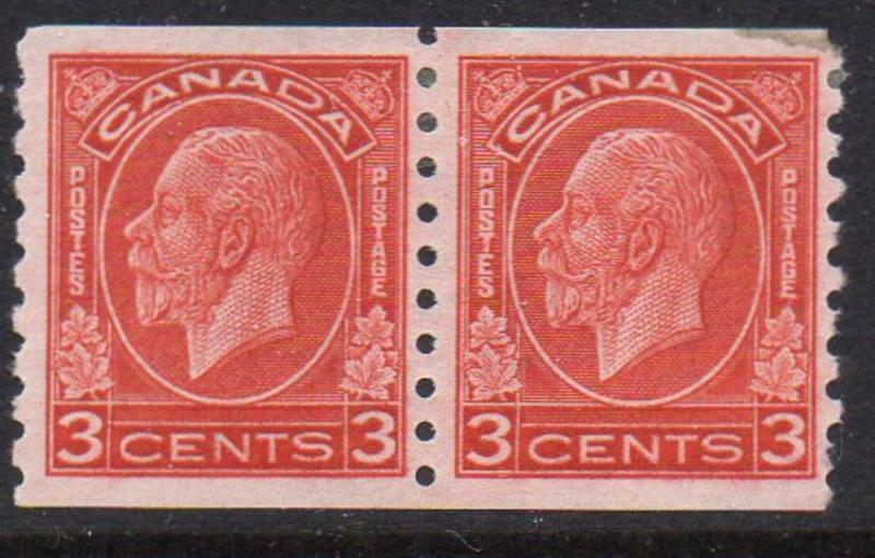 Canada Sc 207 1933 G V Medallion  issue coil stamp pair mint