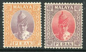 MALAYA PERAK ~ #93 - 94 Very Nice Mint Light Hinged Issues SULTAN ~ S5453