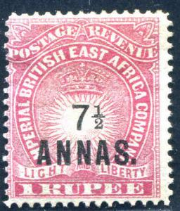 British East Africa Surcharged 7½A on 1R Rose Scott 37  1894  MH