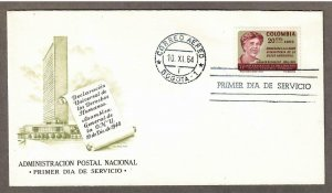 Colombia Air Mail # C462 , Eleanor Roosevelt FDC - I Combine S/H