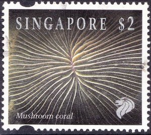 SINGAPORE 1994 QEII $2 Multicoloured 'Mushroom Coral' SG753h FU