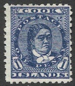 COOK ISLANDS 1898  1c Sc 17 Perf 11 Unused F-VF, Queen Makea Takau