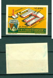 Denmark. Poster Stamp. Mnh. Logo Ford Cars. C.H. Christiansen A/S Amager