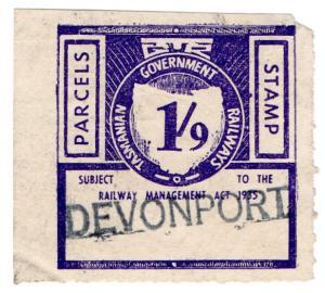 (I.B) Australia - Tasmania Railways : Parcels Stamp 1/9d (Devonport)