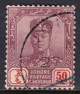 MALAYA (JOHORE) — SCOTT 94 (SG 96) — 1918 50c SULTAN IBRAHIM — USED — SCV $55