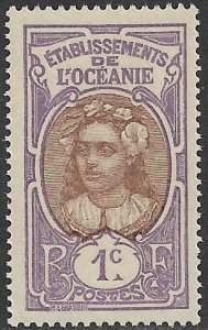 FRENCH OCEANIA / FRENCH POLYNESIA - 1913-30 1c TAHITIAN GIRL Pictorial Sc 21 MLH