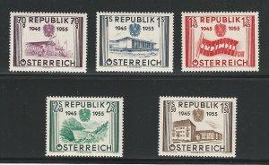 Austria, 1955, Scott #599-603, mint, hinged, Complete Set of 5,  V.F.