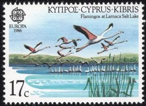 Cyprus 670 - Mint-NH - 17c Flamingos-Larnaca Salt Lake-Europa (1986) (cv $2.25)
