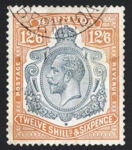 Bermuda 1932 12s6d Grey & Orange Wmk Script SG 93 Scott 97 VFU Cat £375($487)